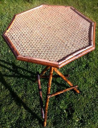 Antique English Octagonal Bamboo Tripod Cricket Table