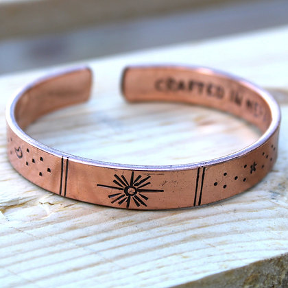Handmade Copper Sunrise, Galaxy, Stars, Earth