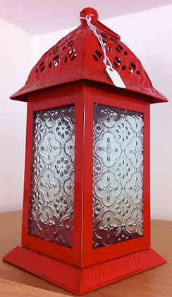 Red Enamel Metal Lantern