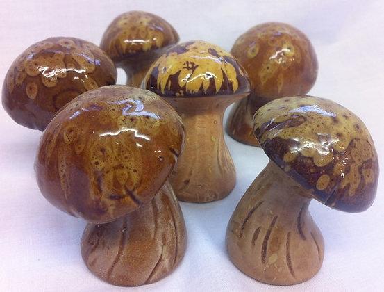 Brown Ceramic Mushrooms