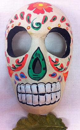 Fair Trade White Wooden Skull Mask