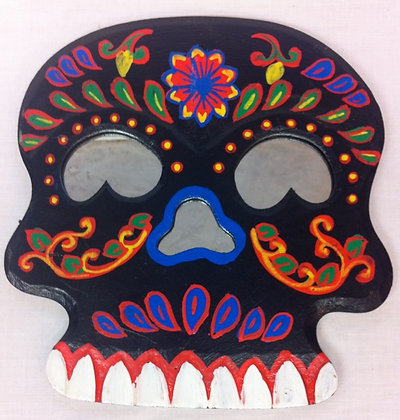 Fair Trade Wooden Black Skulll Mirror