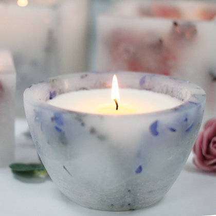 Lavender flower glow bowl soy wax candle