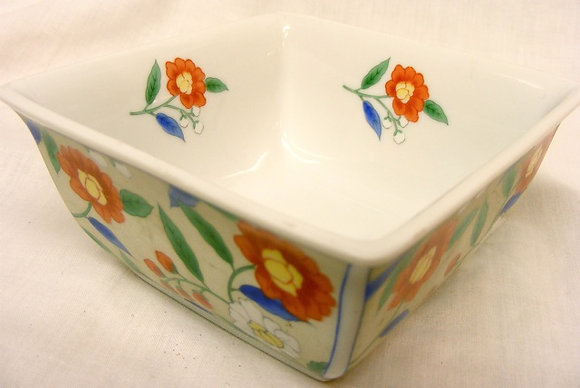 Square Chinese Bowl with Red Fowers