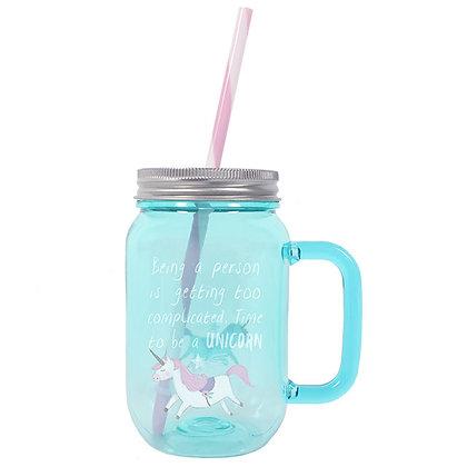Turquoise Unicorn Drinking Jar