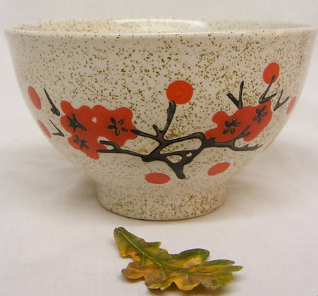 Chinese Bowl with Red Blossom and Calligraphy