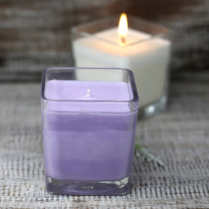 Soy wax Lavender & BASIL Candle in Recycled Glass Pot