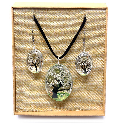 Tree of Life Jewellery Set - White