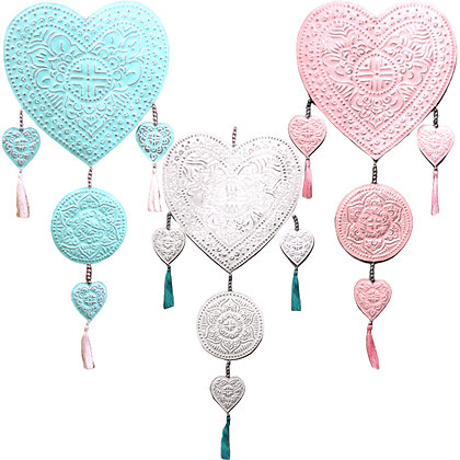 Hand Made Heart Aluminium Mobiles Assorted Colours