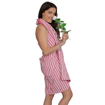 Pink Cotton Stripy Throw