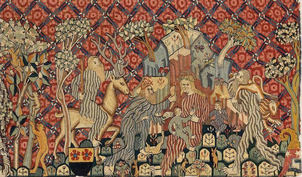 Wartburg tapestry closeup of wild woman and wild men