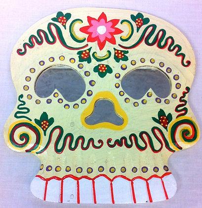 Fair Trade Wooden White Skull Mirror