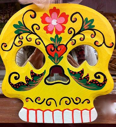 Handmade Skull MIrror - Yellow
