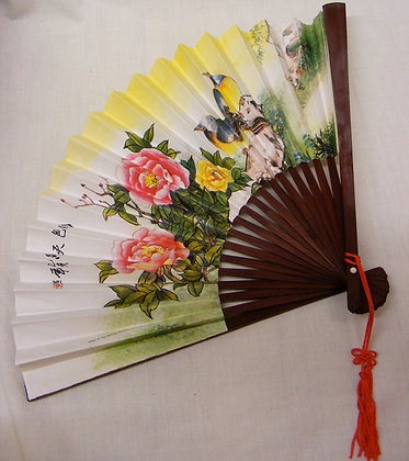 Chinese Fan with Birds and Peonies