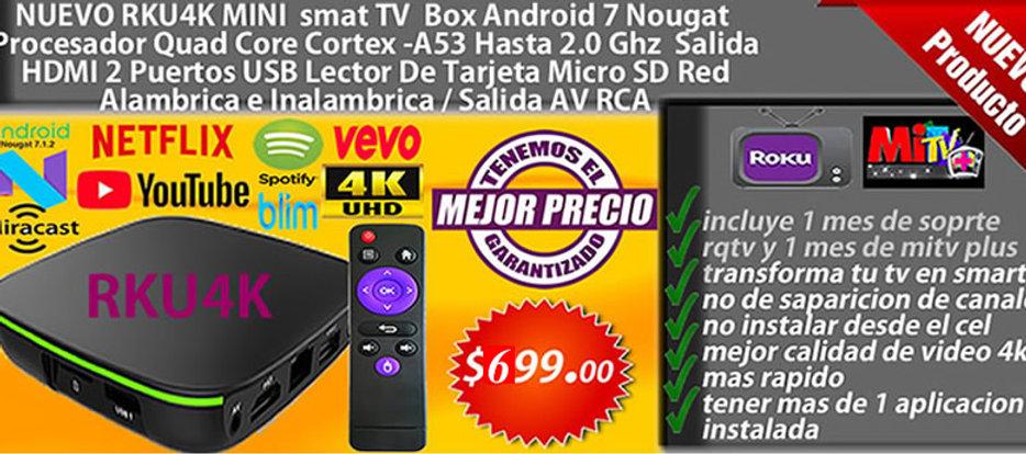 android tv box rku4k el mejor tv box que mejor trabaja con canal roku y mitv plus