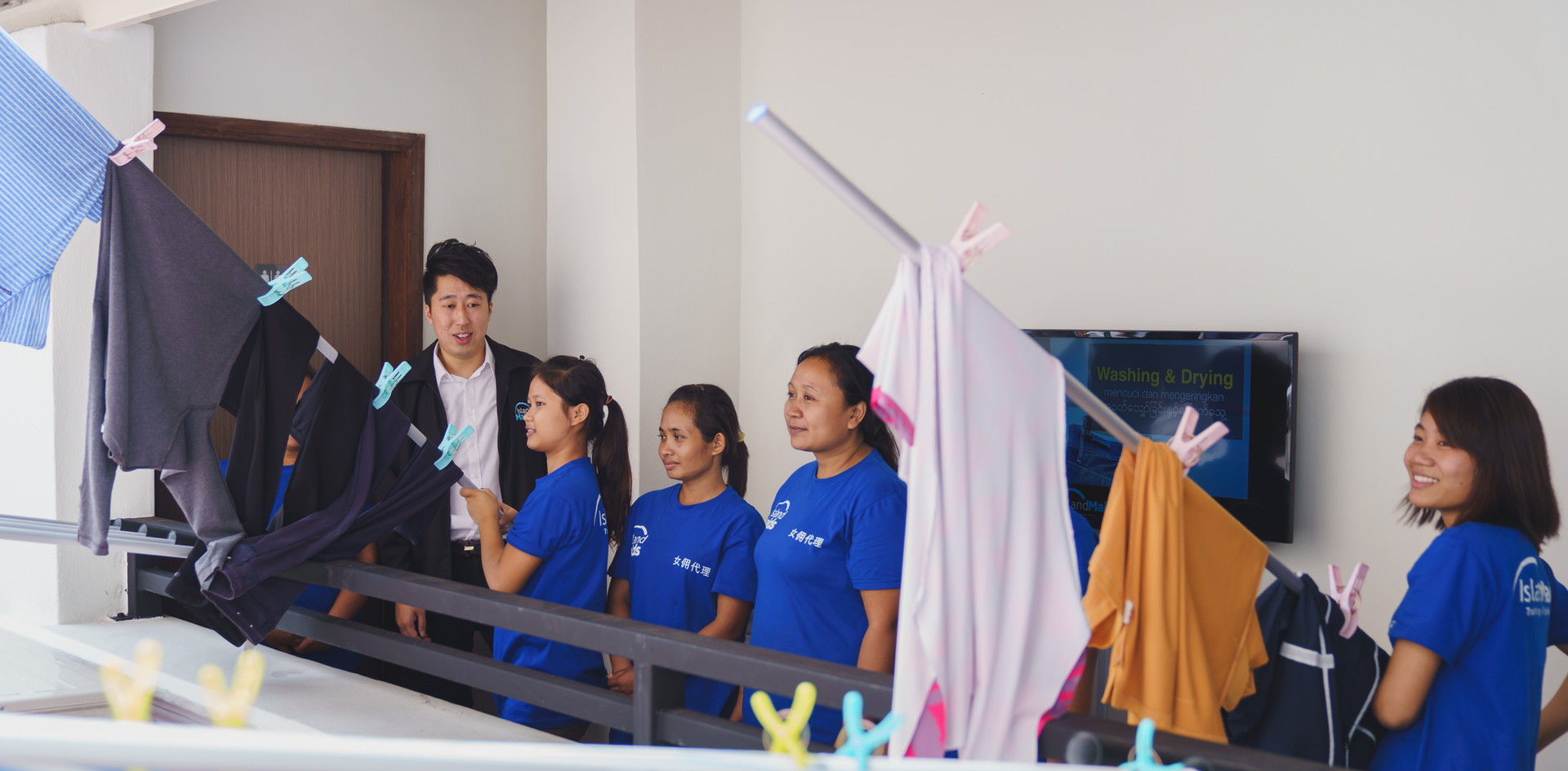 Hanging Laundry - Island Maids Training.
