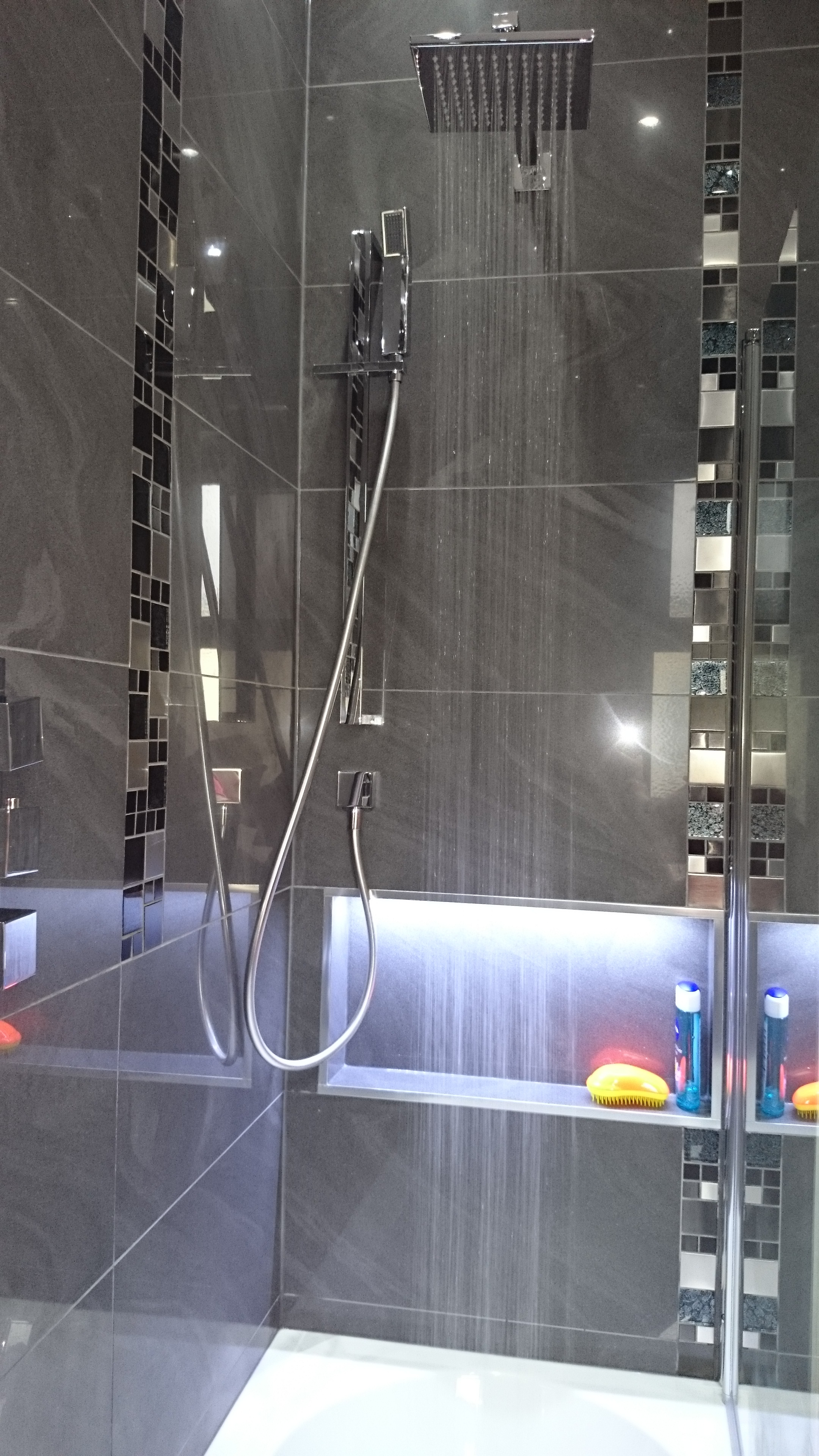grey shower mosaic tiles