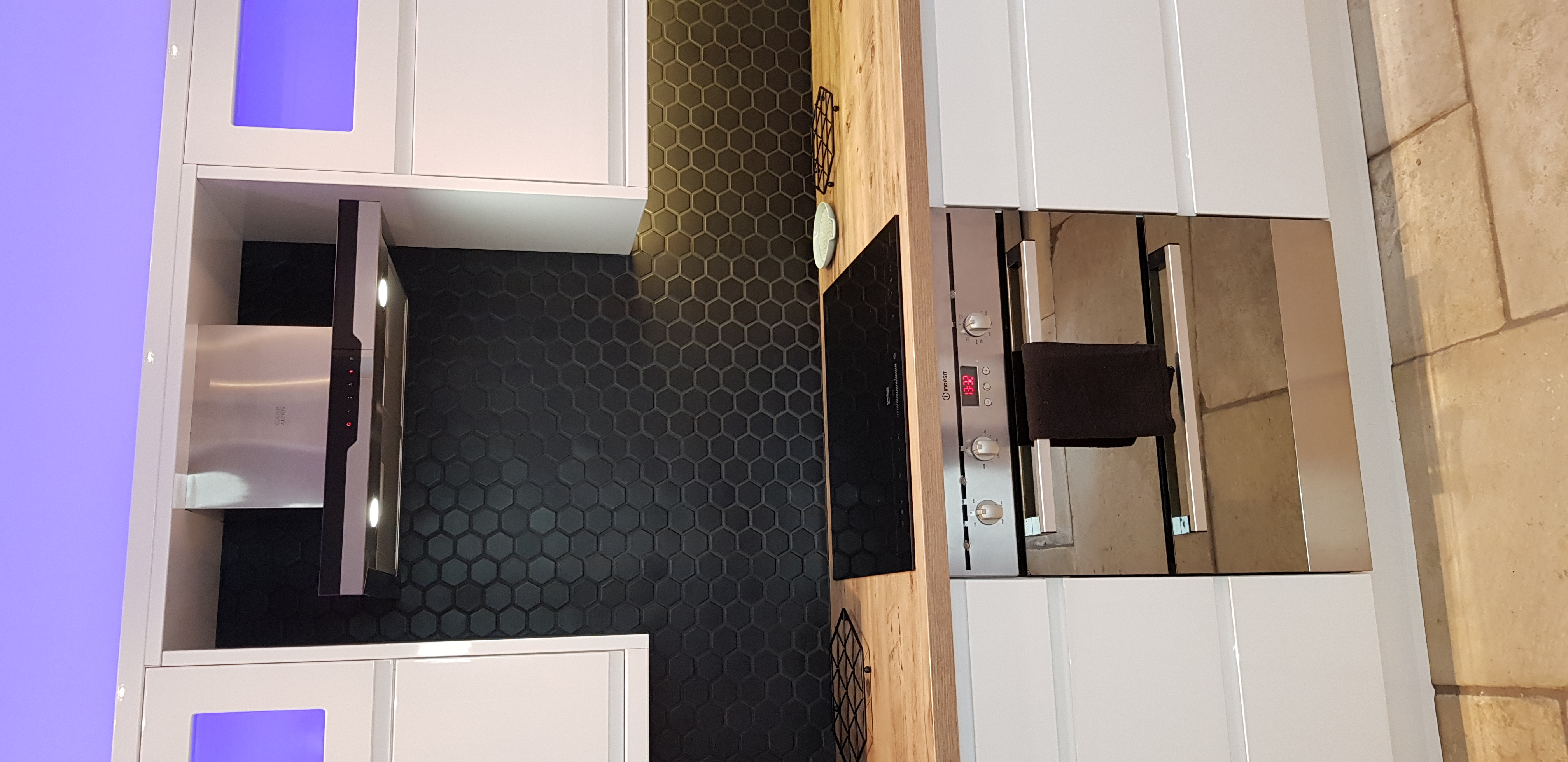 matt black hexagon tiles