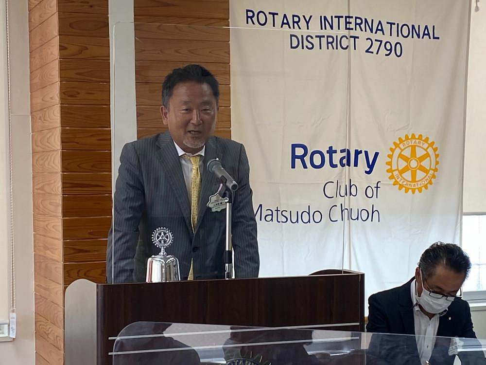 佐々木・井奥年度第4回例会 入木田 健一副会長の会長代行挨拶