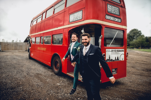 Two grooms on London Bus at Inkersall Grange