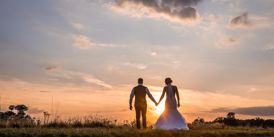 Sunset bride and groom, Irnham Hall Weddings