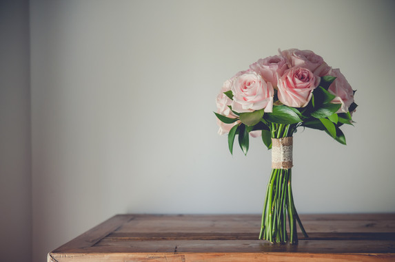 Pink Roses, lace and hessian, Bridal Bouquet, Leicester