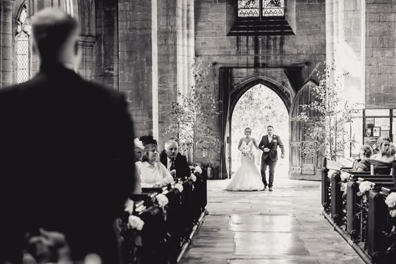 Bride walking down the aisle near Grantham