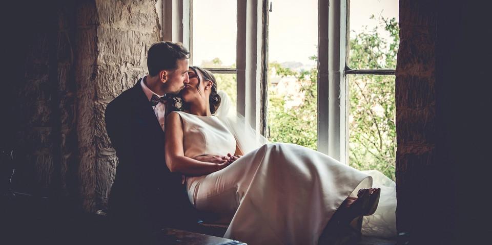 Wedding Couple Portrait at Allington Manor, Lincolnshire
