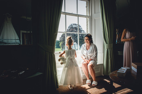 Bride and Flowergirl moment at Stubton Hall