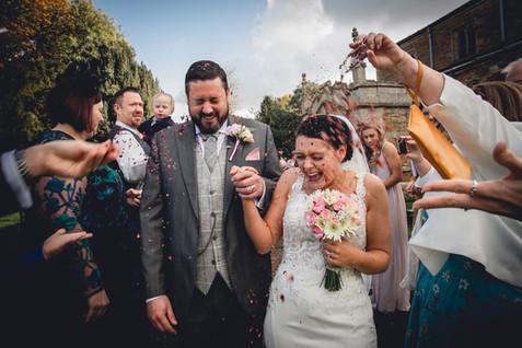 Fun Confetti Shot with Rose Petals, Muston Church, Leicestershire