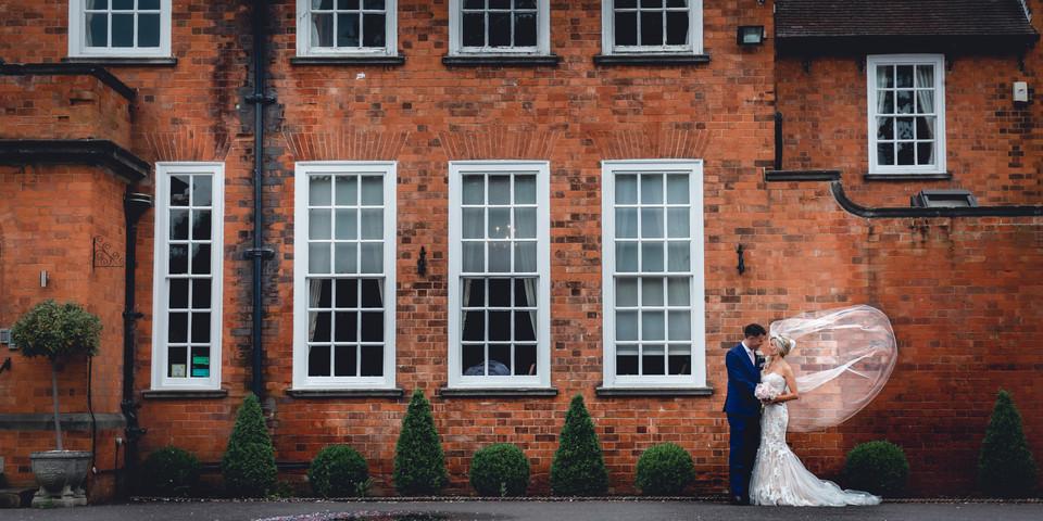 Windswept Veil on Bride at Kelham House, Newark