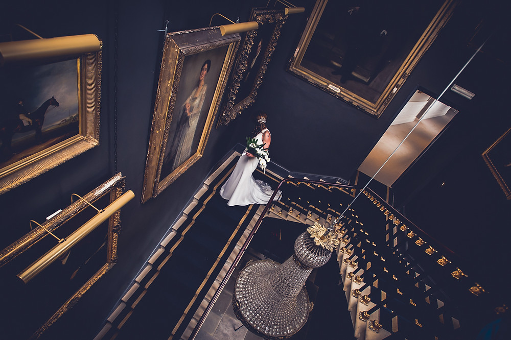 Wedding Photography, Stubton Hall Stairs