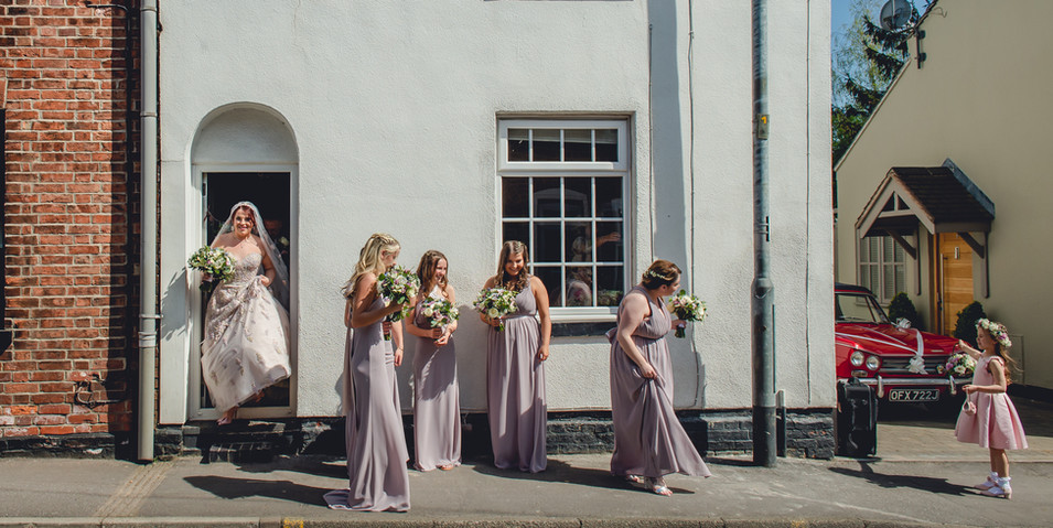 Bridal Party Walking to the Wedding Ceremony at St Helen's, Ashby-de-la-Zouch