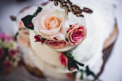 Wedding Cake with Pink and CreamRoses