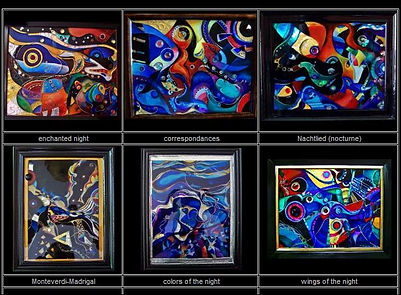 mixed media epoxy paintings, colors of the night