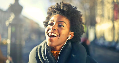 Girl listening to music mastered by CMastering