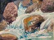 Watercolor painting of rocks and water by Colette Pitcher