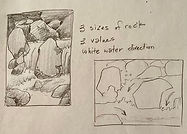 thumbnail sketch of rocks and water by Colette Pitcher