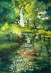 River watercolor by Colette Pitcher