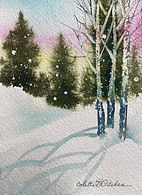 Winter Watercolor Trees