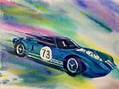 Ford GT watercolor by Colette Pitcher