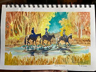 Horseback riders fall watercolor by Colette Pitcher