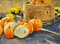 watercolor painting of pumpkins by Colette Pitcher