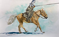 Galloping knight watercolor by Colette Pitcher