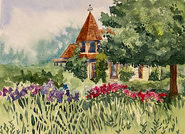 Watercolor painting of the Stevenson House at Centennial Village, Greeley Colorado by Colette Pitcher
