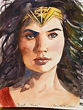 Wonder Woman watercolor by Colette Pitcher