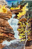 Water-fall watercolor by Colette Pitcher