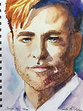 Chris Pine portrait watercolor by Colette Pitcher
