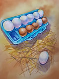 Dozen eggs watercolor by Colette Pitcher