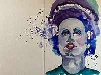 Bride of Frankenstein watercolor by Colette Pitcher
